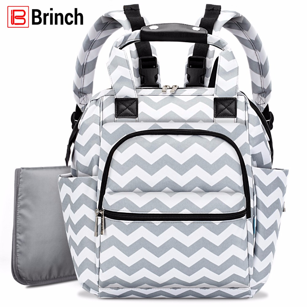 BRINCH Diaper Bag Mochila Maternity Mummy Bag Multifunction Baby Bags For Mom Lightweight Slim Stroller Bag With Changing Pad