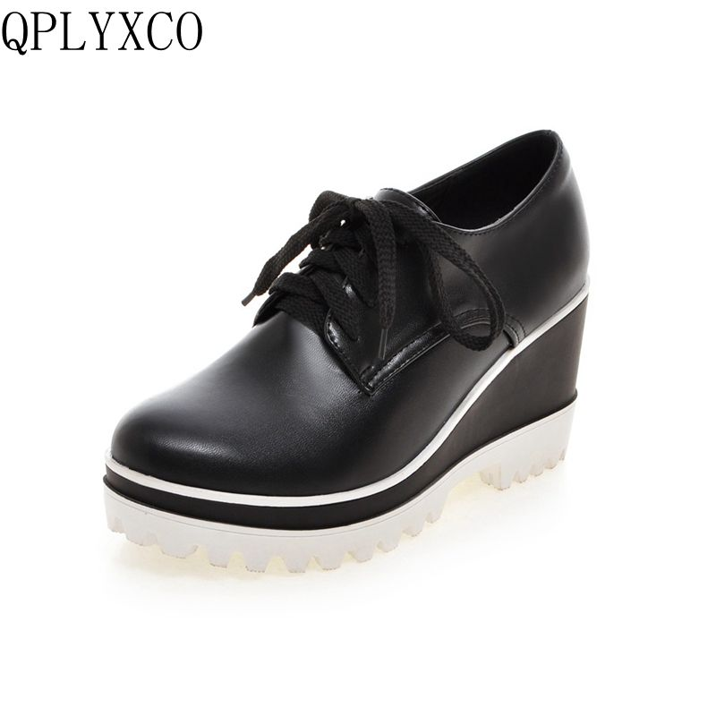 QPLYXCO New Plus big size 33-43 Shoes Woman lace up Round toe high heels Spring Autumn Retro women shoes zapatos mujer Y-1 lace up women shoes pumps new spring autumn round toe female casual high heels casual shoes platform woman size 43