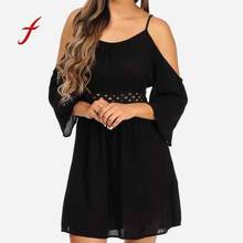 Women Summer Lace Dress 2018 Fashion Temperament Sling Neck Sleeve Dress Mini Shop Owner Recommended Dress Vestido(China)