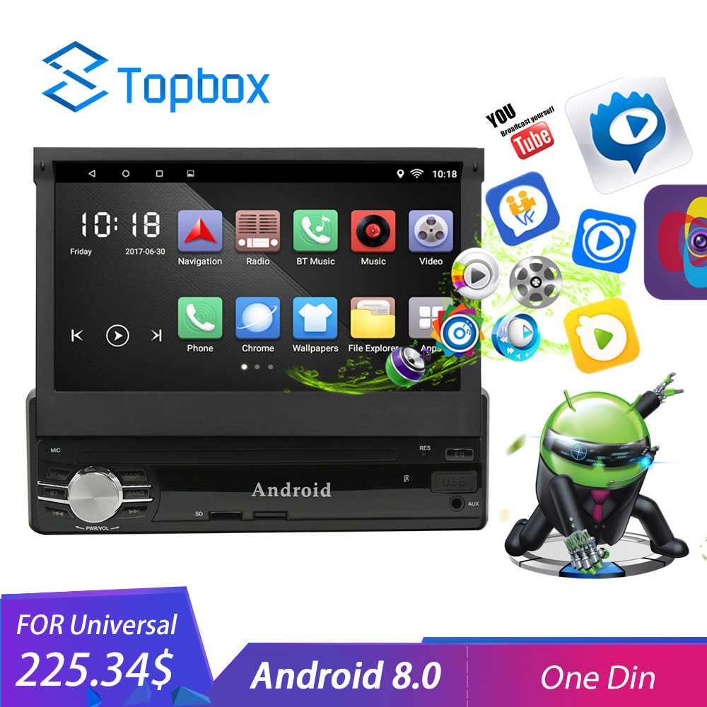 Topbox 1Din Android Car Multimedia 7 Quad Core 6.0 Car Styling 1 din Autoradio GPS WIfi Car Audio Player Bluetooth With Camera