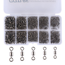 Goture 500pcs Fishing Swivels Size 4#-12# Rolling Swivel Solid Rings With Box Connector For Fishing Hooks Fishing Accessories(China)