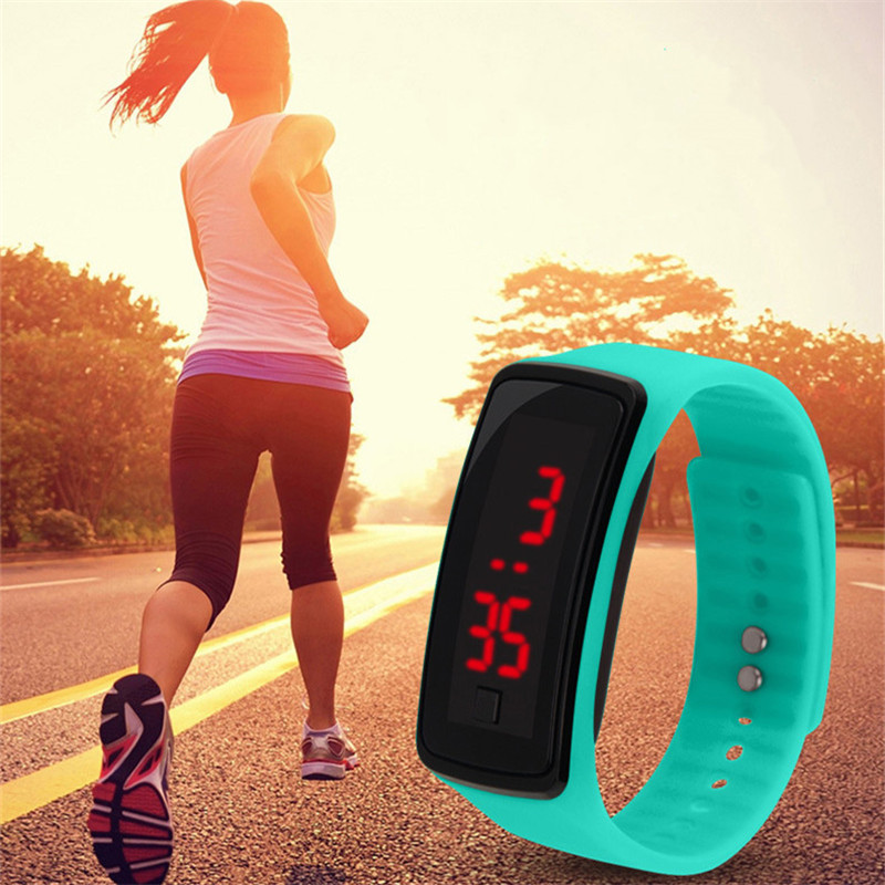 LED Sports Digital Watch Women Waterproof Silicone Fashion Wristwatch Ladies Fitness LED Wristband Clock For Running