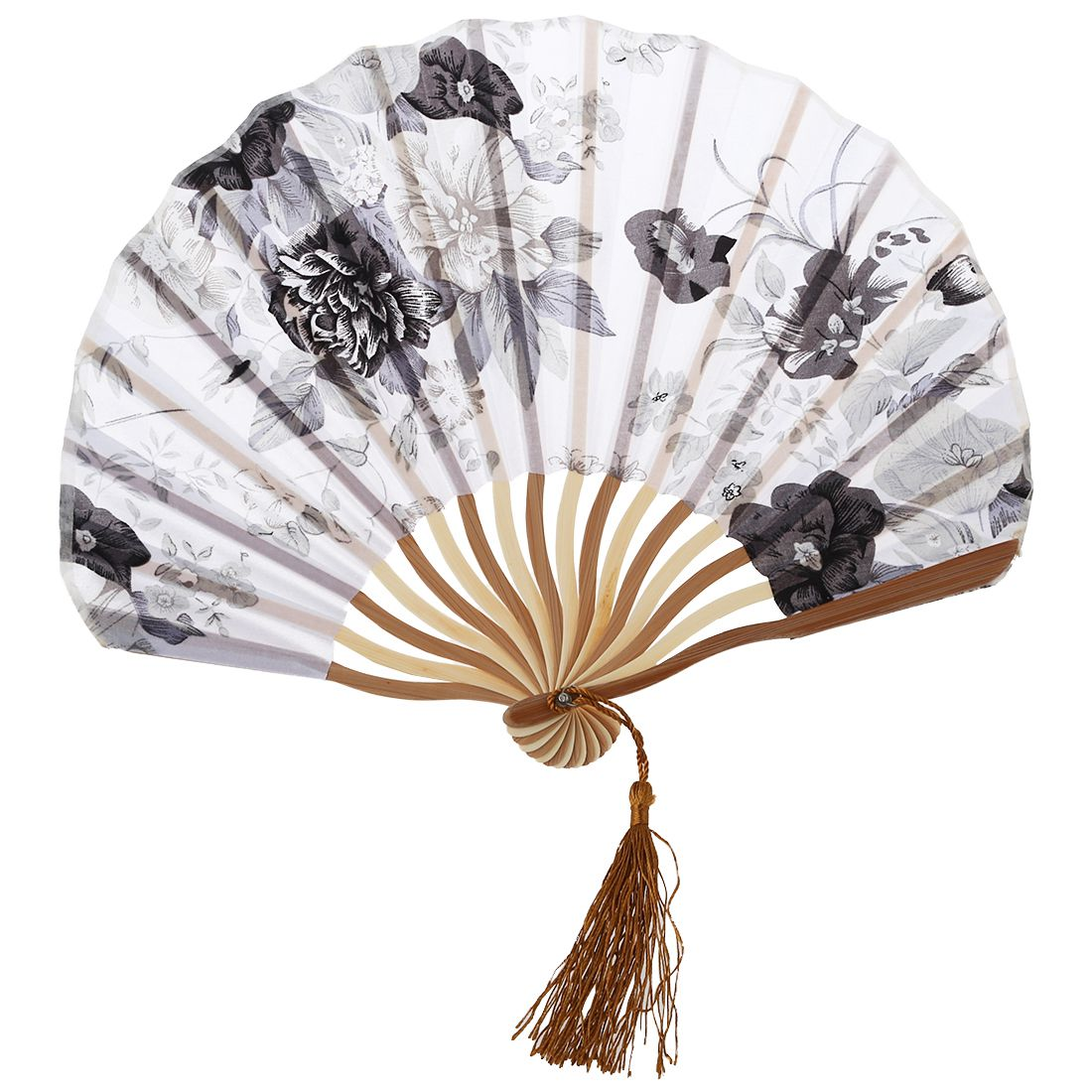 -Chinese Gray Peony Blossom Fabric Bamboo Folding Dancing Hand Fan White