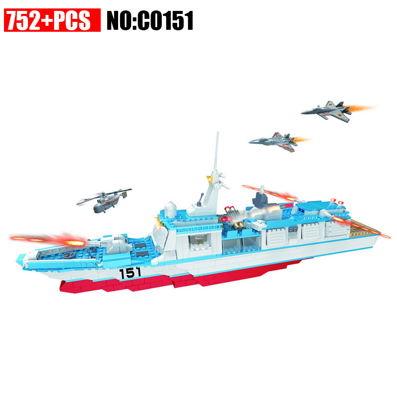 C0151 Military series Missile frigate Building Blocks set with Helicopter DIY Bricks Toys for Children Christmas Gift