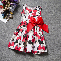 2016 Hot Christmas Dress Minnie Mouse Dress Printing Dot Sleeveless Princess Party Dress Girl Clothes Fashion