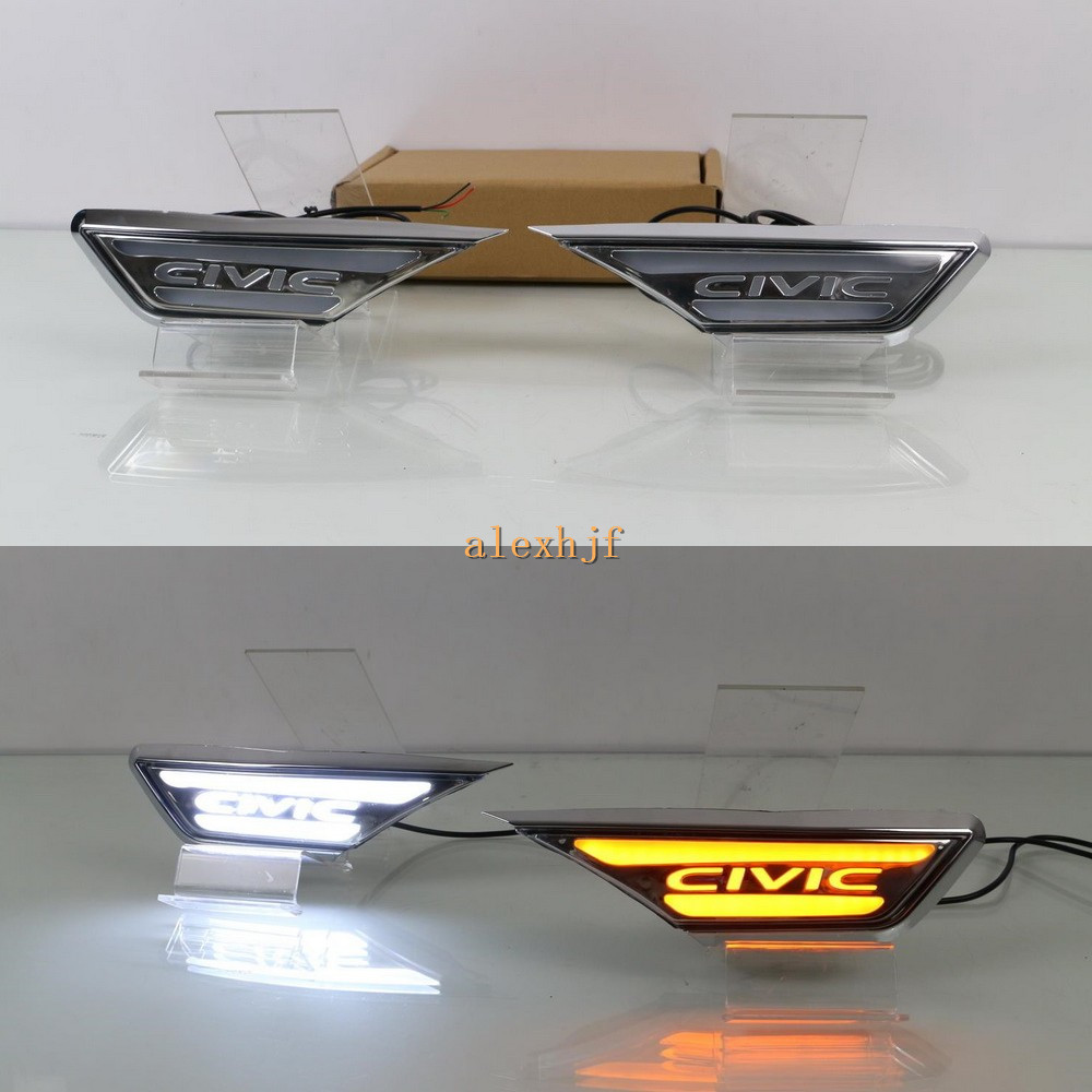 цена на July King Car Fender LED Light Guide Side Daytime Running Light DRL Yellow Turn Signals Light Case for Honda Civic 10th 2016+