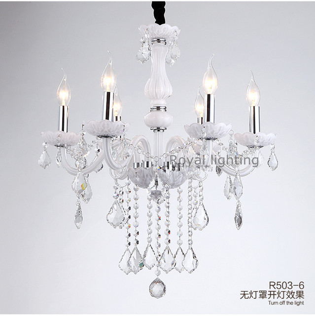 Bedroom White Chandelier Lamps Simple Clear Crystal Pendant