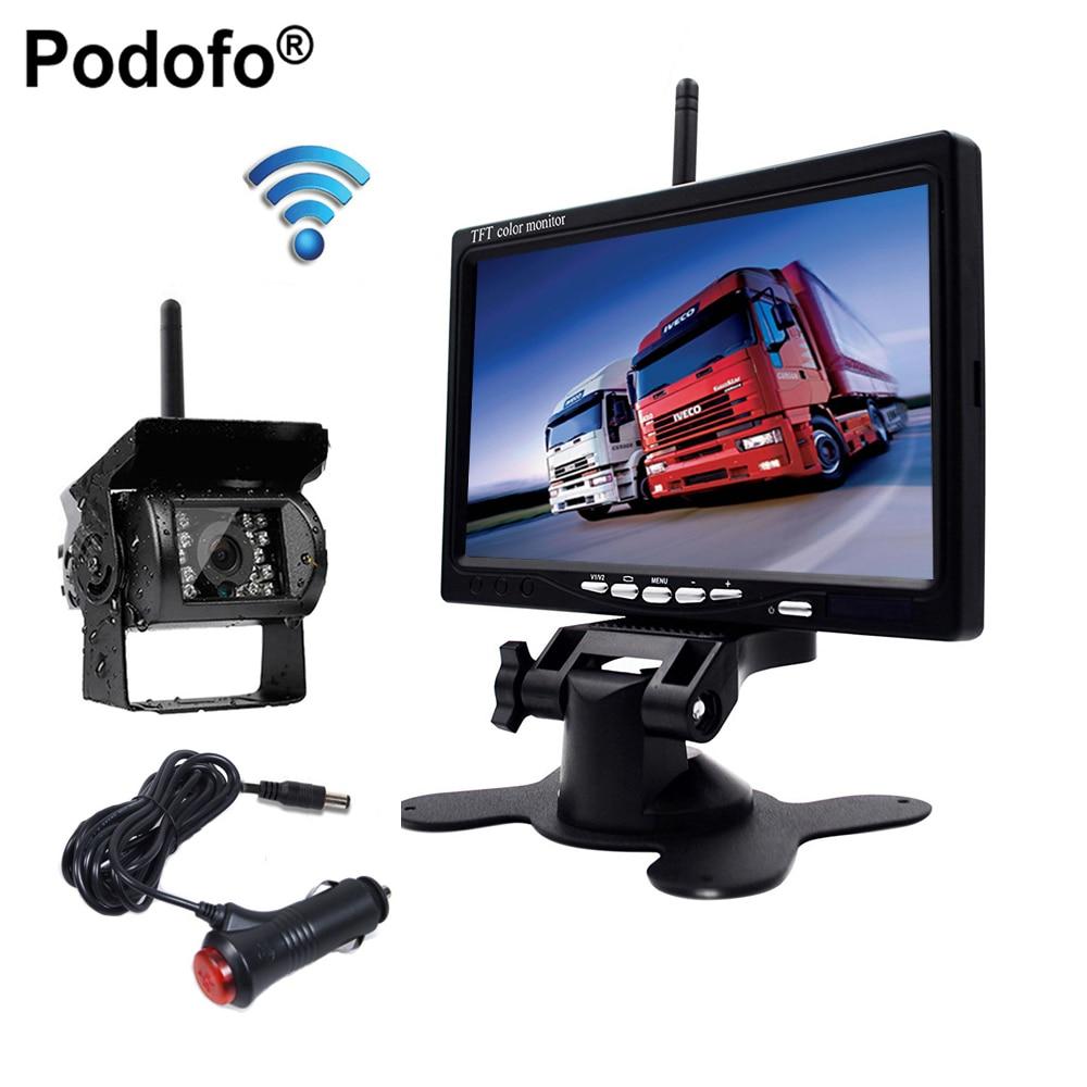 Podofo В 12 В 24 в беспроводной 7 HD TFT ЖК-дисплей автомобиля резервная камера заднего вида монитор + Автомобильное зарядное устройство для грузови...