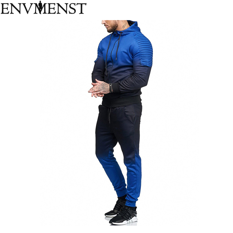 2018 Casual Tracksuit Mens Sets Sweatsuits Sportswear Mens Pullover Hoodie And Pants Strips Hooded Sweatshirt Sportswear