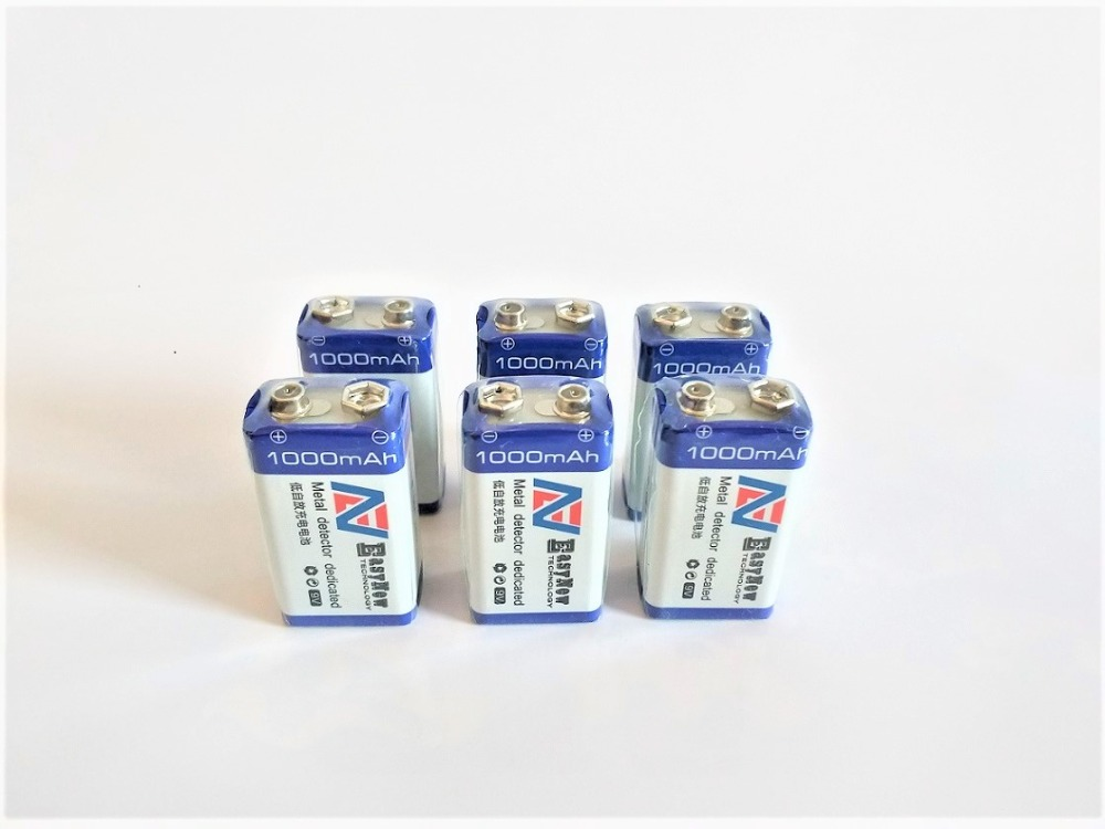 6pcs lot 9V 1000mAh lithium ion battery USB rechargeable battery detector toy line finder rechargeable battery