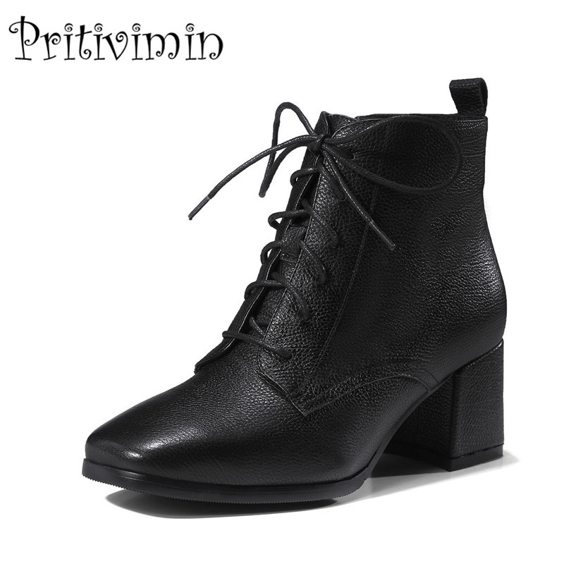 2017 New autumn ladies high quality shoes woman black wine genuine leather thick low heel lace up ankle boots Pritivimin FN105 round toe autumn shoes high heel platform black casual lace up 2017 front ankle boots booties patent leather female ladies new