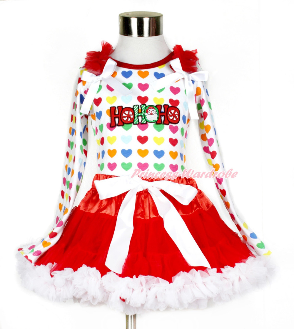 Xmas Red White Pettiskirt with HOHOHO Santa Claus Print Rainbow Heart Long Sleeve Top with Red Ruffles & White Bow MAMW412 white pettiskirt with patriotic america heart white ruffles