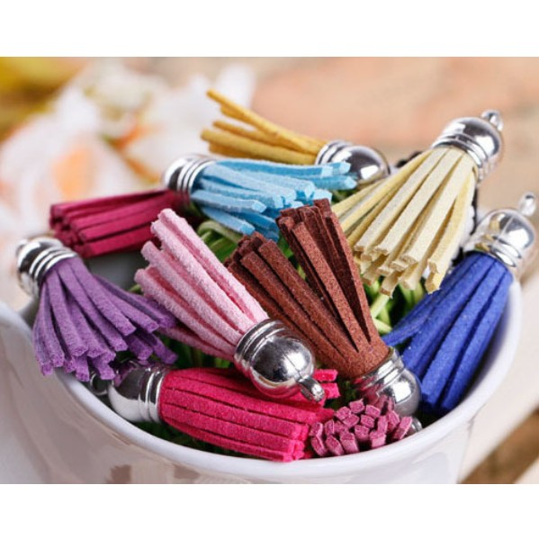Mix Color Suede Tassel For Keychain Cellphone Straps Jewelry Charms,100pcs Leather Tassel With Metal Caps Diy Accessories недорго, оригинальная цена