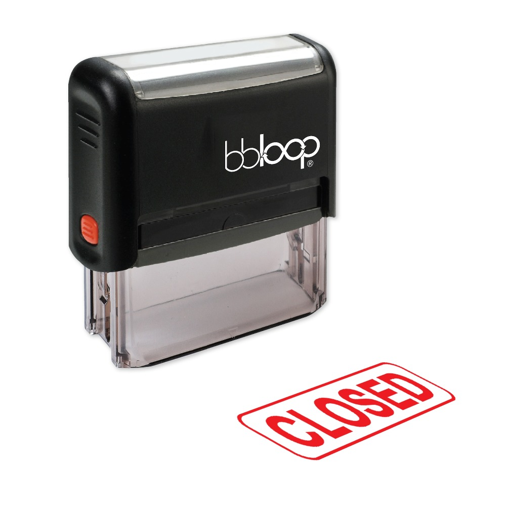 BBloop CLOSED W/Border Box Self-Inking Stamp, Rectangular, Laser Engraved, RED/BLUE/BLACK 10 digit 9 wheels gray light blue rubber band self inking numbering stamp