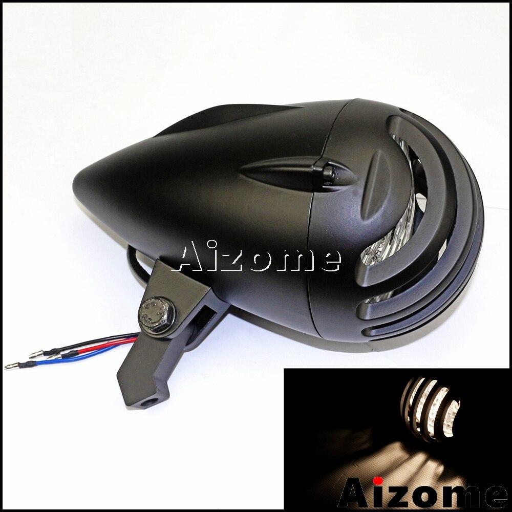 """Universal Motorcycle Bullet Headlamp 4.75"""" Finned Headlight For Harley Cafe Racer Chopper Bobber Invader Torpedo Headlight   - title="""