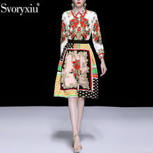 Svoryxiu Spring Summer Runway Vintage Skirt Suit Women's Elegant Long Sleeve Gold Print Blouse + Skirts Female Two Piece Set(China)