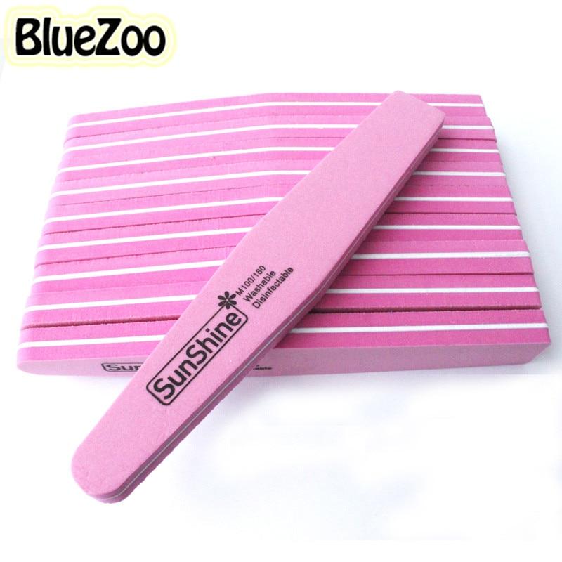 BlueZoo 10pcs Nail File Diamond Fancy Nail Files Buffer Sanding Washable Nail Manicure Tool Double Side