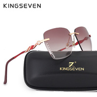 KINGSEVEN Sunglasses Women New Rimless Colorful Glasses Women Brand Designer Gradient Clear Lens Red Frame Lentes