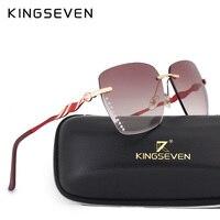 KINGSEVEN Sunglasses Women New Rimless Colorful Glasses Women Brand Designer Gradient Clear Lens Red Frame Lentes