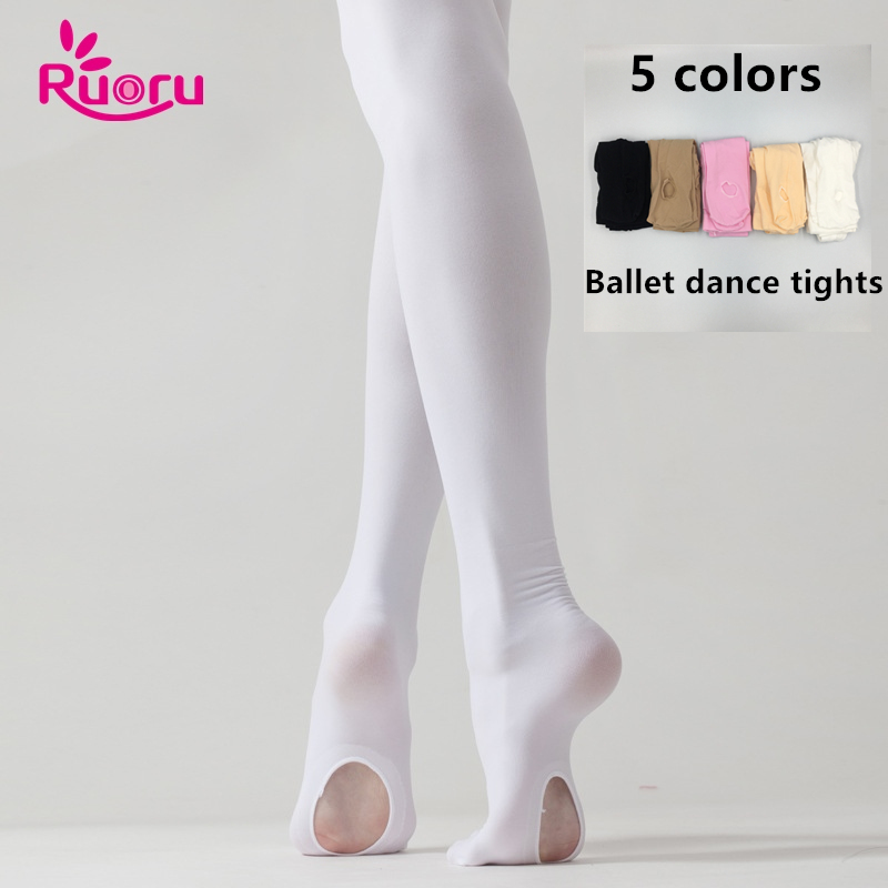 Ruoru Professional Kids Children Girls Adult Ballet Tights White Ballet Dance Leggings Pantyhose With Hole Nude Black Stocking