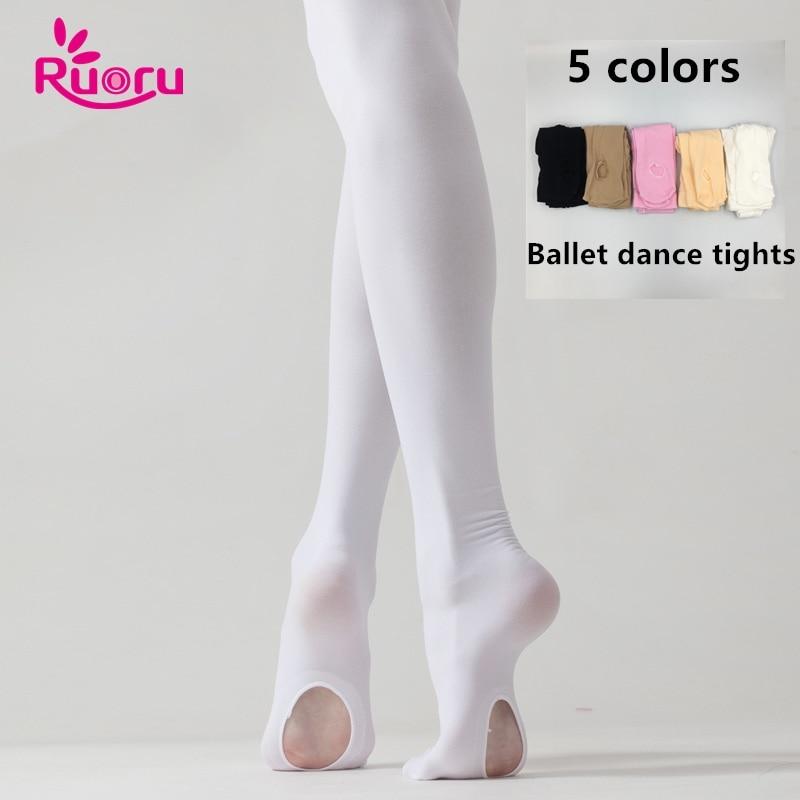 Ruoru Professional Kids Children Girls Adult Ballet Tights White Ballet Dance Leggings Pantyhose With Hole Nude Black Stocking