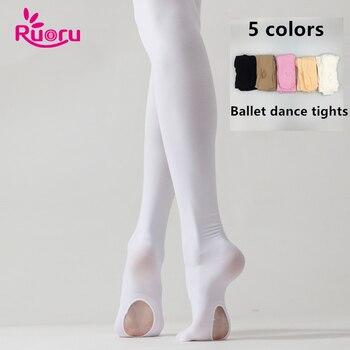 Ruoru Professional Kids Children Girls  Ballet Tights White Ballet Dance Leggings Pantyhose with Hole Nude Black Stocking