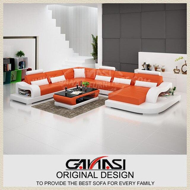 Ganasi juego de sala de lujo cuero sof muebles juego de for Muebles industriales sala de estar