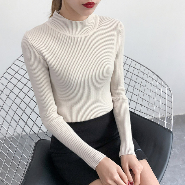 2019 New-coming Autumn Turtleneck Pullovers Sweaters Primer shirt long sleeve Short Korean Slim-fit tight sweater