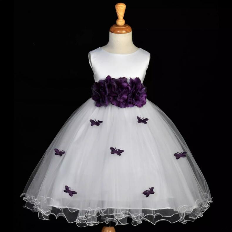 White and Purple Flower Girl Dresses Jewel Neck Flowers Sash Ruffles Tulle A-Line Girls Pageant Dresses Size 2-16Y jewel neck sleeveless floral print a line belted dress