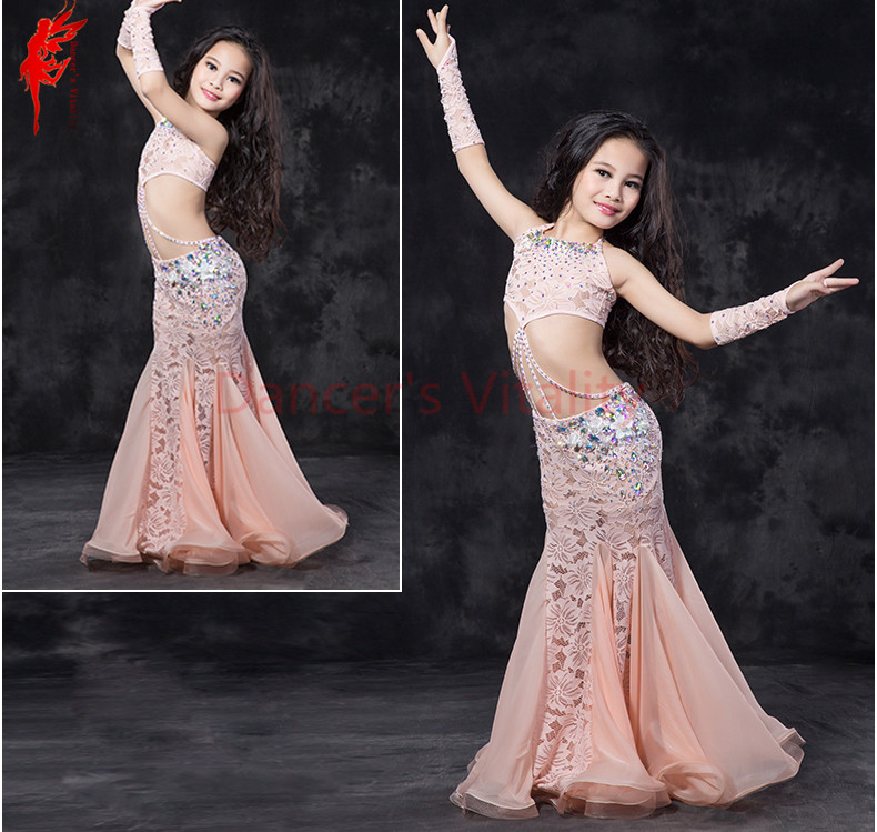 Kids belly dance performance suit girls belly dance clothing lace sleeves top skirt 2 arms 4pcs