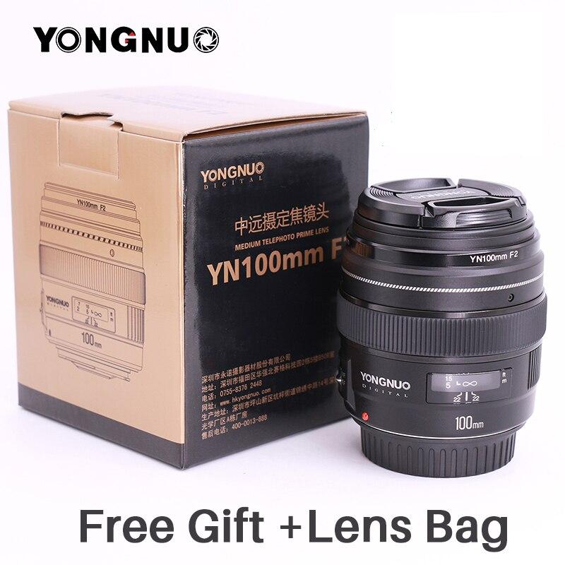 Objectif YONGNUO 100mm YN100mm F2.0 AF/MF objectif de mise au point fixe pour appareil photo Canon EOS rebelle 1300D T6 760D 750D pour appareil photo DLSR