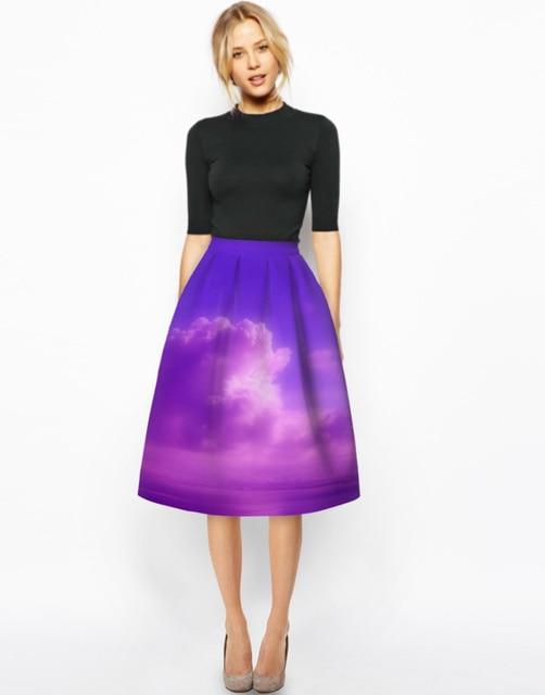2016 Spring New 50s Vintage Painting 3D Digital Print High Waist Skirt Rockabilly Retro Puff Skirt
