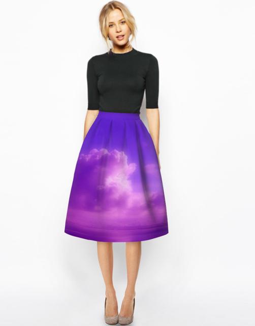 2016 nueva primavera 50 s rockabilly retro vintage pintura 3d de impresión digital de alta cintura falda falda del soplo