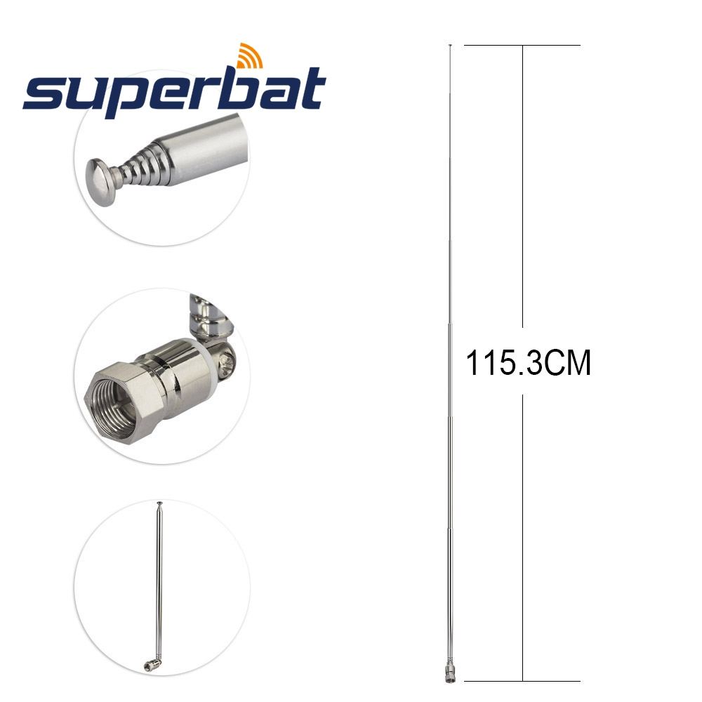 Superbat UNBAL F Type Male Plug Connector DAB DAB+ FM AM TV Antenna 7 Section Telescopic Aerial for Home Audio Radio Stereo Rece