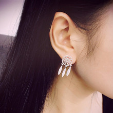 New Fashion Silver Bohemia Nationality Indian Feather Dream Catcher Dreamcatcher Earrings Women Jewelry High Quality