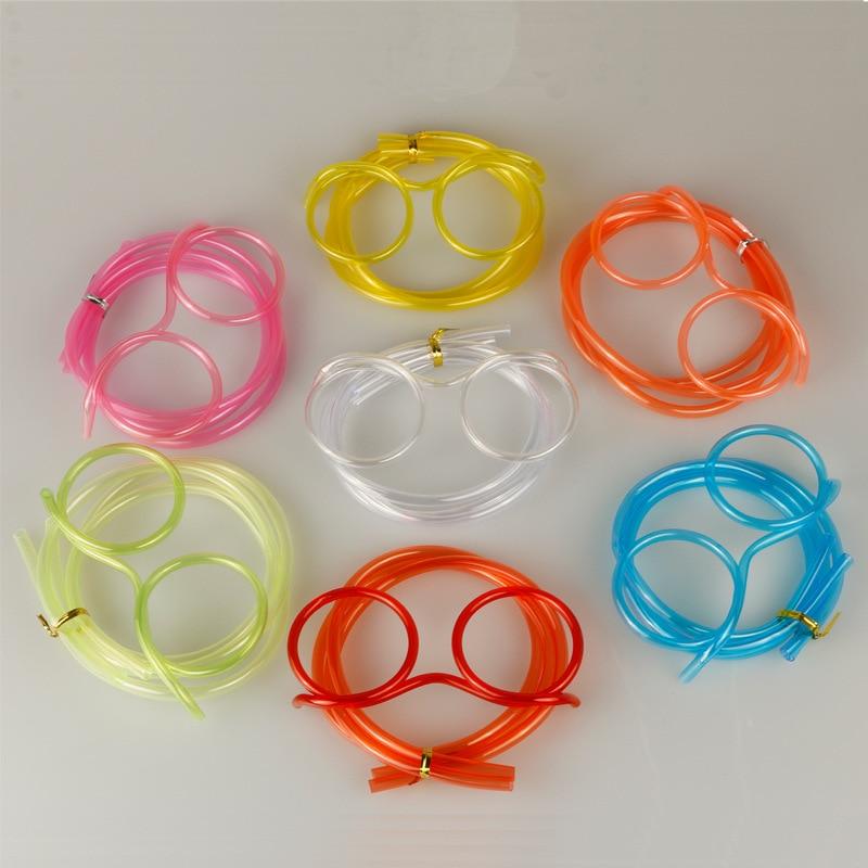 wholesale!5PCS Unique Flexible Novelty Soft Glasses Straw Glasses Drinking Tube Fun Drinking