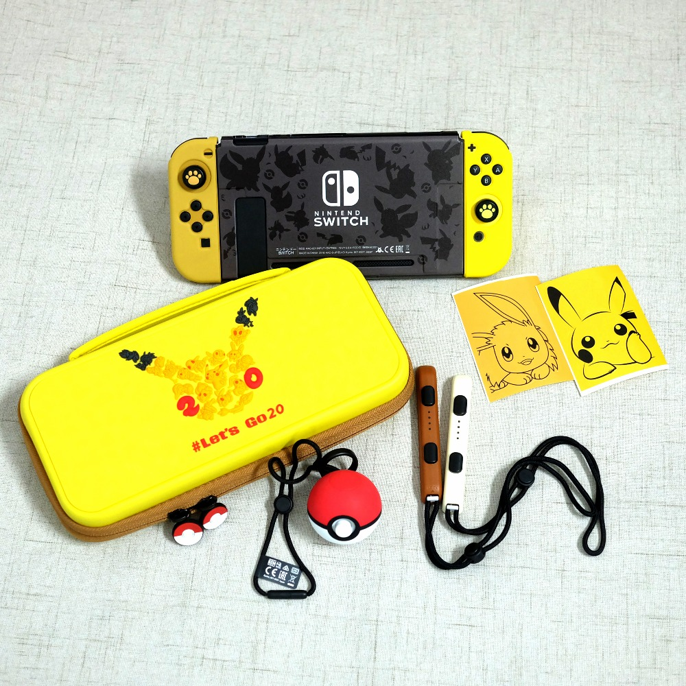 Eevee Joy Con Silicone Grips Case For Nintendos Switch Game Console Accessories Hard Shell Carrying Bag Let's Go Pika Back Cover