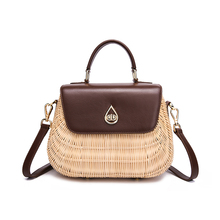 2019 new Genuine leather  handbags rattan bag straw holiday beach hand-woven small square high-grade imported