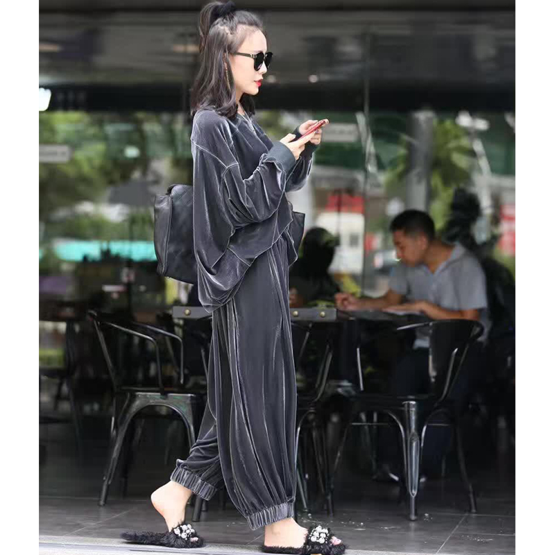 European and American fashion spring and autumn and winter gold velvet bat shirt big yards wide leg pants casual tracksuit suit