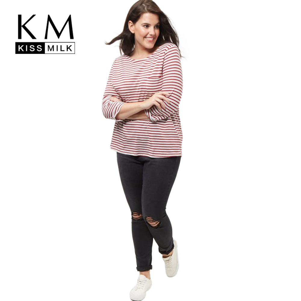 f5dc93d4afe Kissmilk Plus Size New Fashion Women Clothing Casual Striped Streetwear  Basic Tops Loose O Neck T Shirt 3XL 4XL 5XL 6XL-in T-Shirts from Women s  Clothing on ...