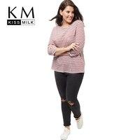 Kissmilk Plus Size New Fashion Women Clothing Casual Striped Streetwear Basic Tops Loose O Neck Big