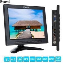 Eyoyo EM08A 8 inch 1024x768 LCD 4:3 Color Monitor Support 1080P HDMI input Screen VGA BNC AV for PC CCTV DVR
