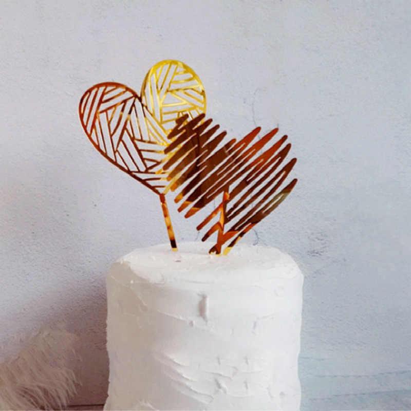 ゴールドシルバーアクリルハートコレクションケーキトッパーデザート装飾誕生日パーティー素敵なギフト挿入パーティーの装飾