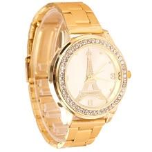 Модные Женские Часы Классический Железная Башня Круглый Кварцевые Часы Водонепроницаемые наручные часы