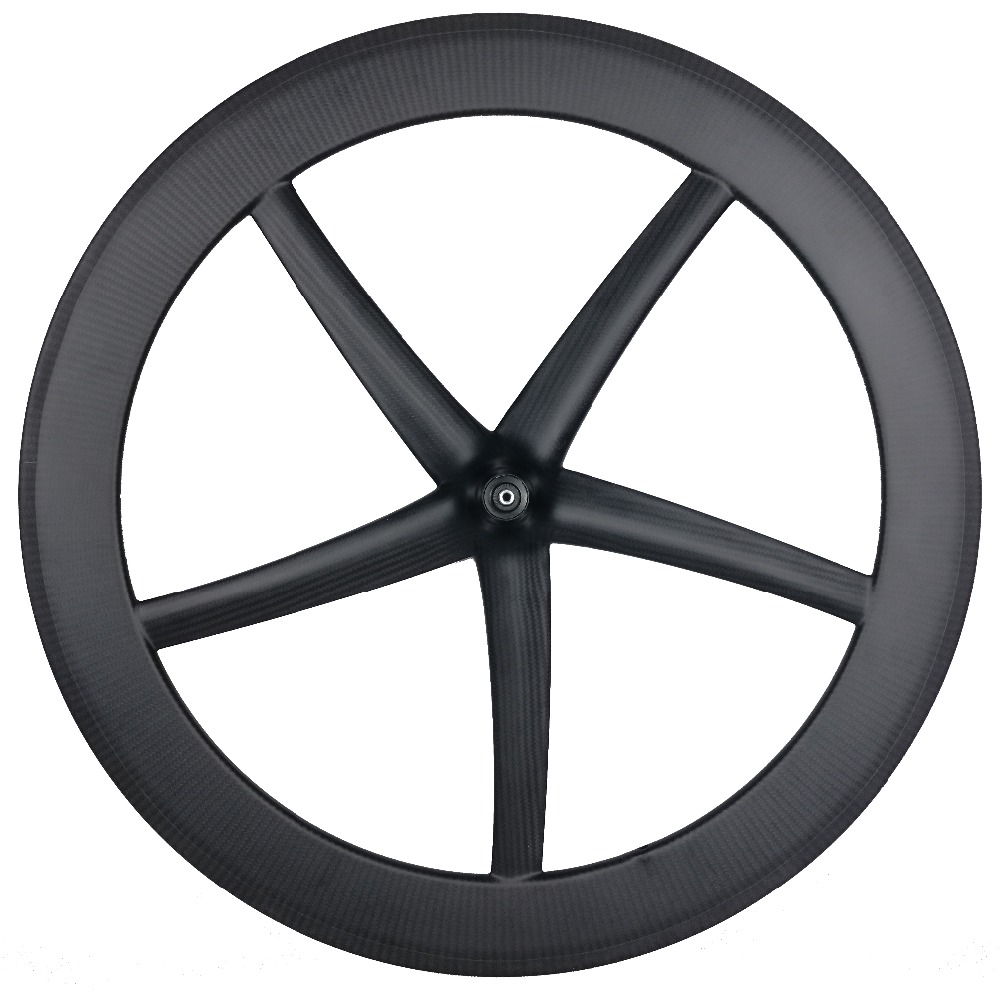 CarbonWheel <font><b>5</b></font> <font><b>Spoke</b></font> <font><b>Wheel</b></font> Tubular And Clincher 65mm Carbon <font><b>Wheels</b></font> 25mm Width Fixed Gear <font><b>Wheels</b></font> image