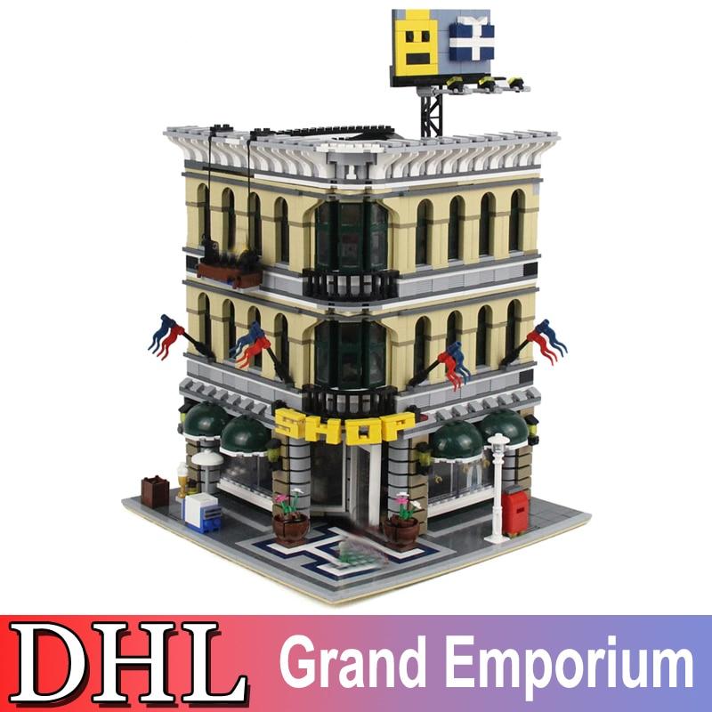 2018 New 2182Pcs City Creator Street Figures Grand Emporium Building Model Blocks Bricks Set Toys For Children Compatible 10211