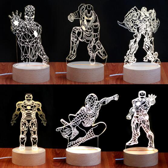 3D The Avengers Lamp Super Hero Action Figure Captain America Iron Man LED Night Light Spiderman Black Widow Bedroom Lamp Toy