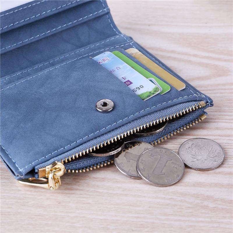 Image 4 - WESTERN AUSPICIOUS Purse Female Purple/pink/gray/blue/black Wallet Femal PU Leather Bank/ID/Credit Card Holder Wallet Women 2020Wallets   -