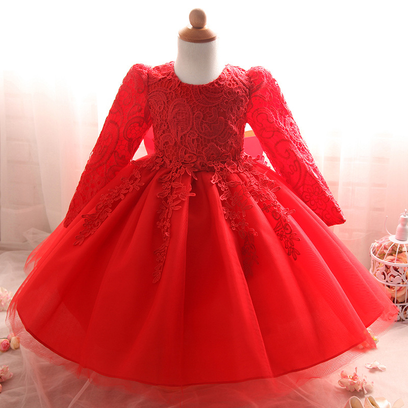 Princess Flower Girls Dress Long Sleeve Hollow Lace Formal Ball Gown Dress Kids Clothes Children Girl Wedding Party Dresses 3-8Y