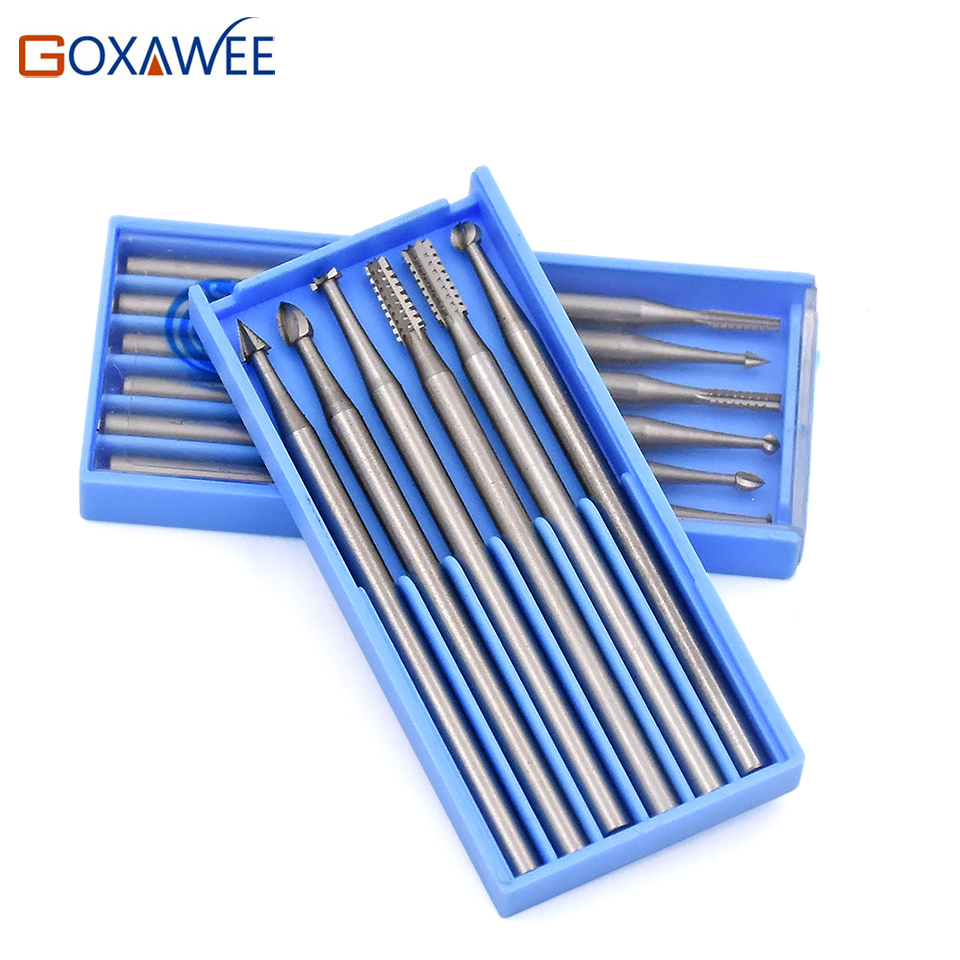 GOXAWEE Mini utensili rotanti frese in acciaio utensili abrasivi per utensili Dremel Accessori mini trapano 009 # / 014 # / 018 # / 023 #